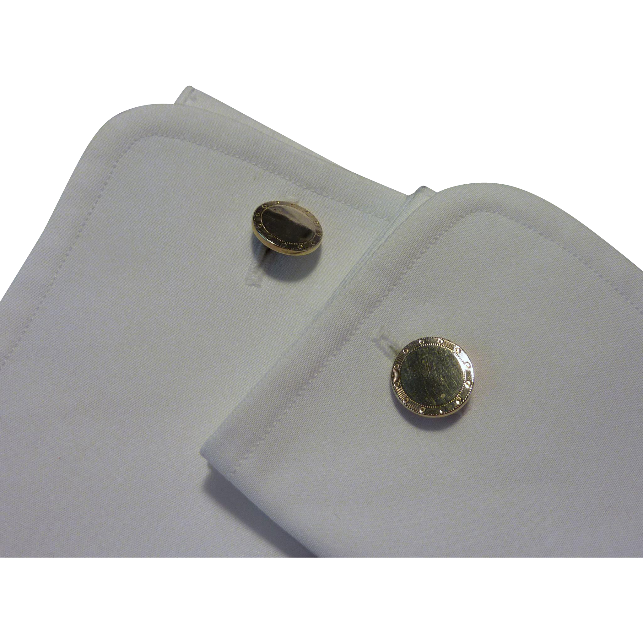 Small Gold Tone Round Cuff Link Cufflinks