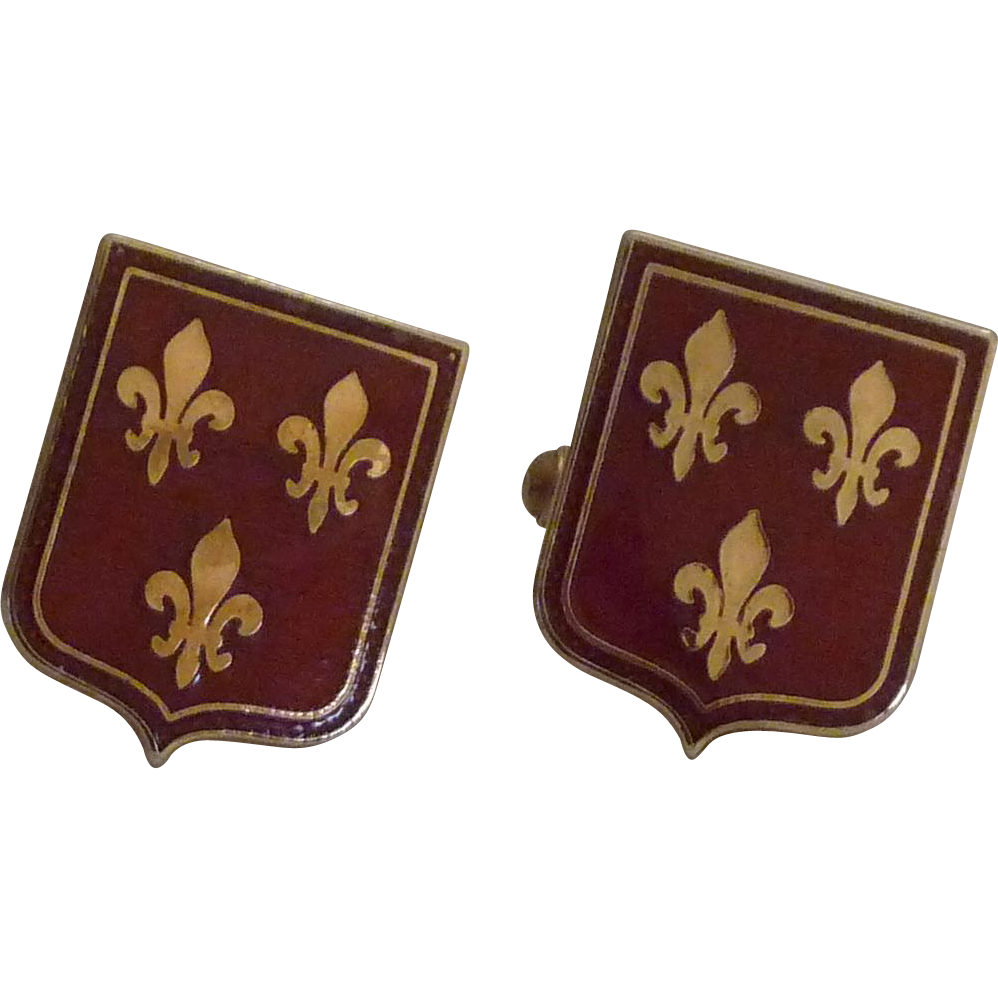 Maroon Shield Gold Tone Fleur de Lis Cufflinks Cuff Links