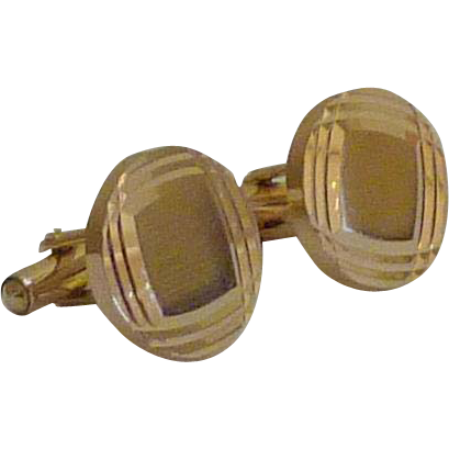 Diamond Like Cut Gold Tone Cuff Links Cufflinks
