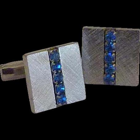 Silver Tone Blue Rhinestone Cuff Links Cufflinks