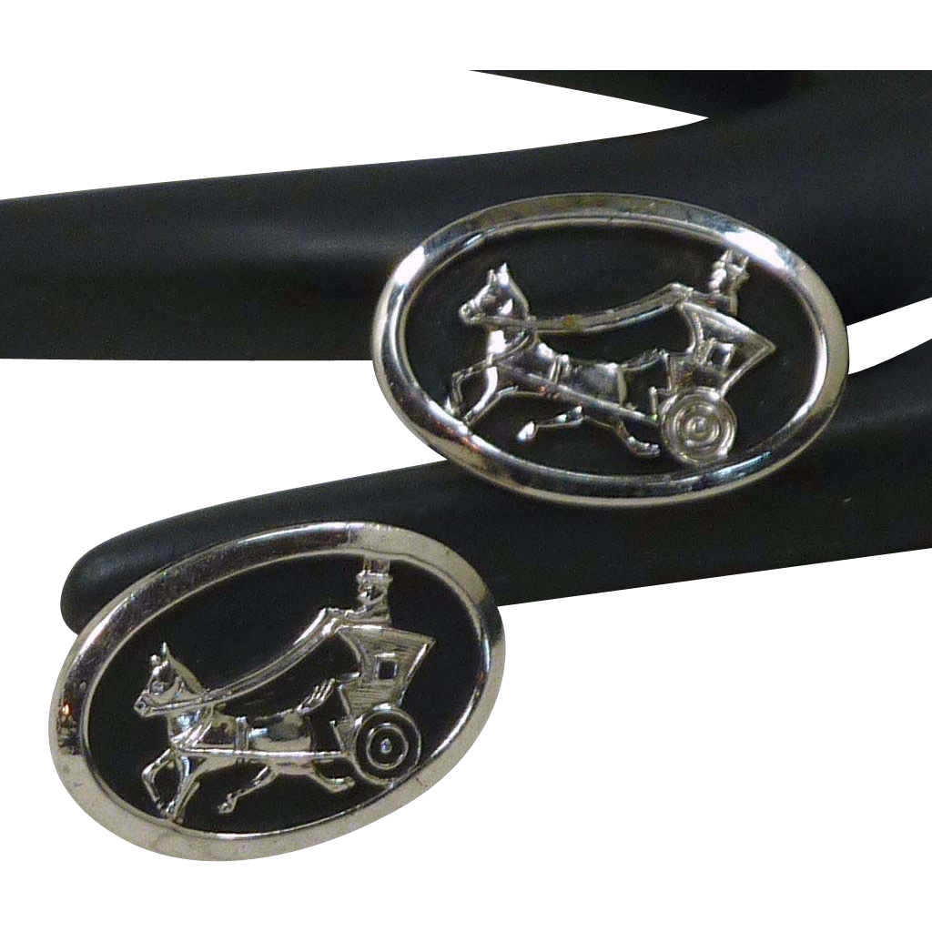 Horse, Carriage and Rider Oval Black and Silver Tone Cufflinks