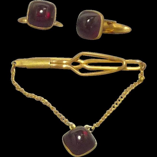 Red Globe 1930's Cufflinks Cuff Links and Tie Bar