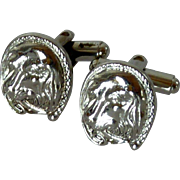 Silver Toned Dog Head Cufflinks Cuff Links