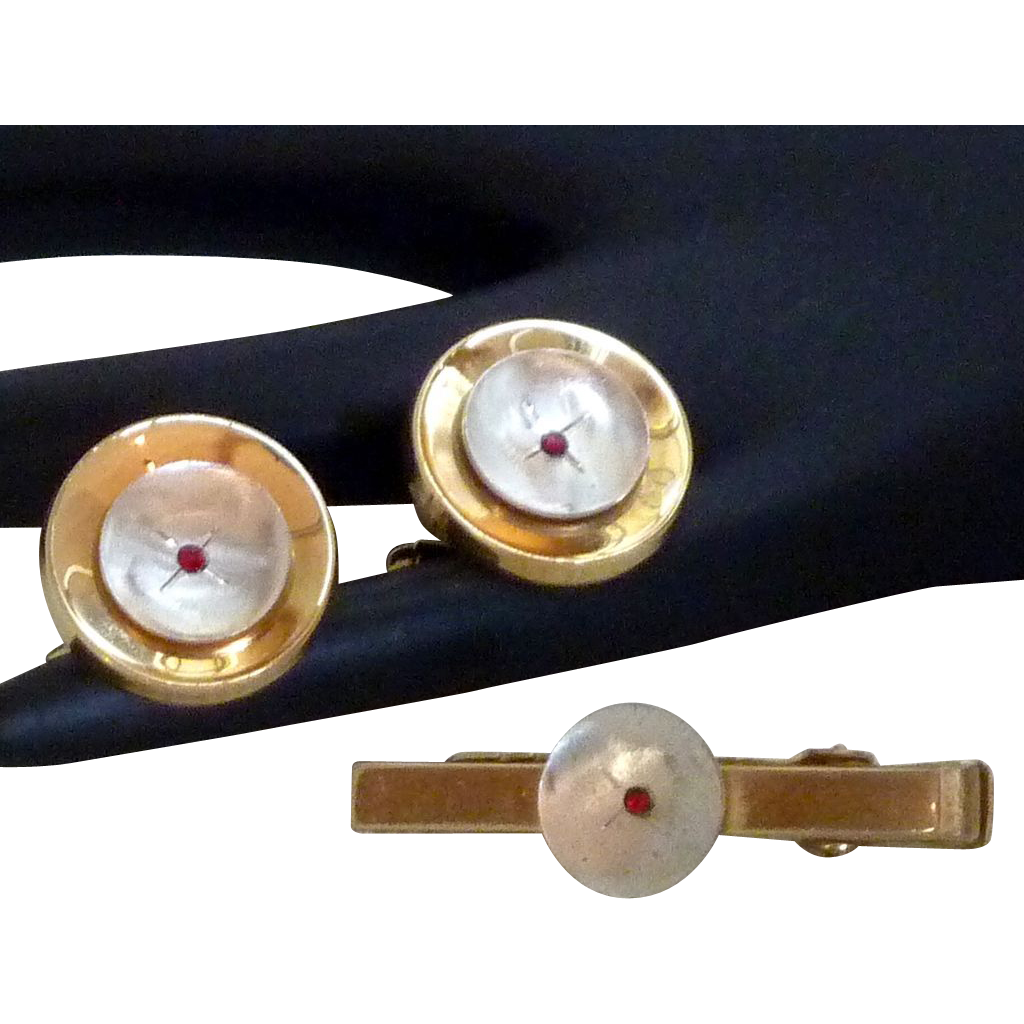 Beautiful Anson Two Tone / Ruby Rhinestones Cufflinks Cuff Links Tie Clasp