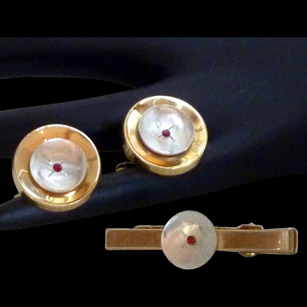 Classic Anson Two Tone / Ruby Rhinestones Cufflinks Cuff Links Tie Clasp
