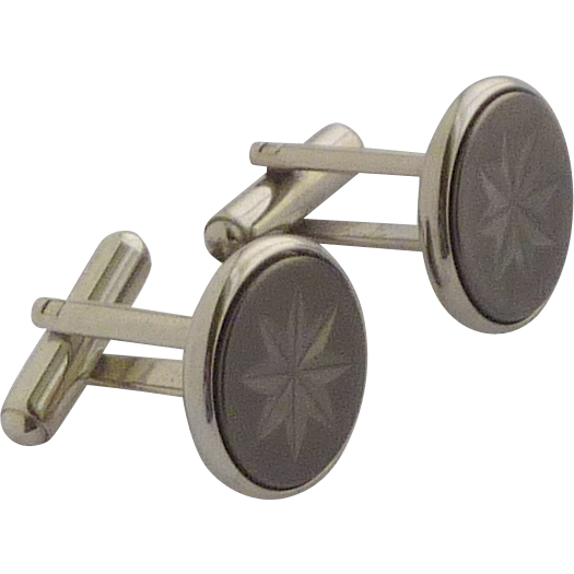 Silver Tone Round Black Star Burst Design Cufflinks Cuff Links