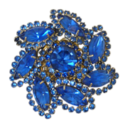 Beautiful Vintage Brooch Pin Blue Rhinestones