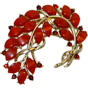 Vintage Coral Red Cabochon Leaf Brooch Pin