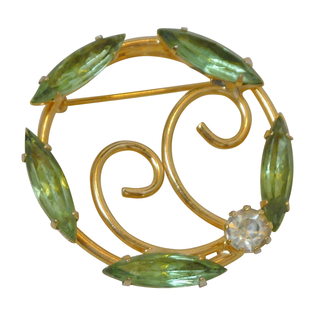 Peridot Green Rhinestone Gold Tone Circle Brooch Pin