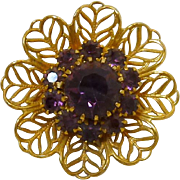 Filigree Purple Rhinestone Flower Gold Tone Brooch Pin