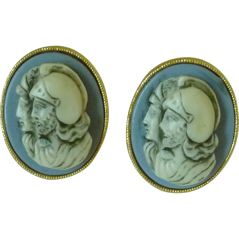 Roman Cameo Soldiers Gold Tone Blue Cuff Links Cufflinks