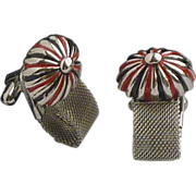 Silver Tone Black and Red Domed Wraparound Cuff Links Cufflinks