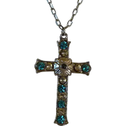 Aqua  Diamond Rhinestone Silver Tone Cross Pendant Necklace