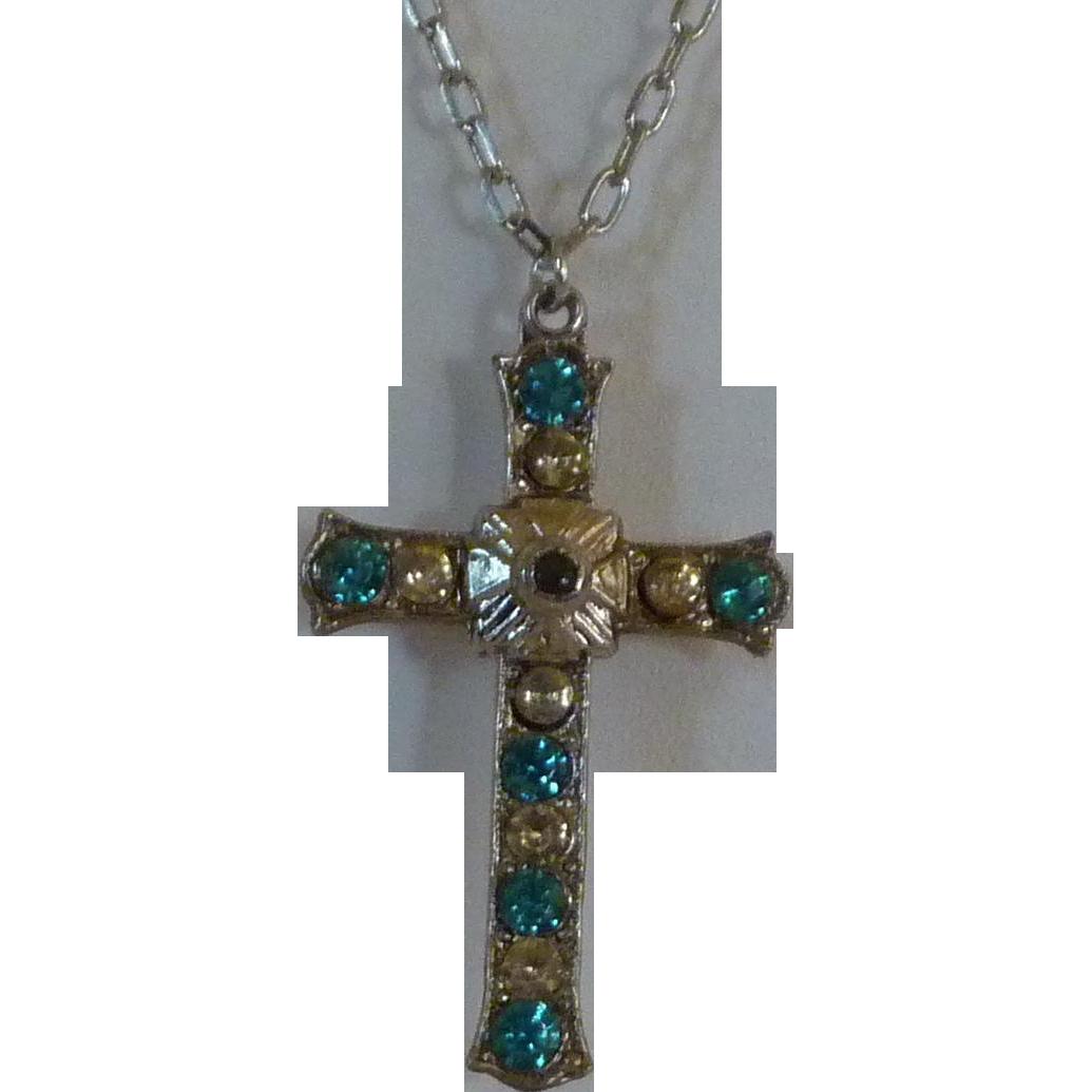 Aqua  Diamond Rhinestone Silver Tone Cross Pendant Necklace