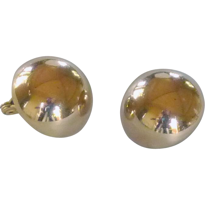 Monet Gold Tone Plain Ball Clip On Earrings