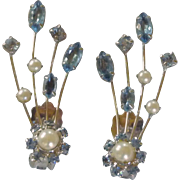 Vintage Blue Rhinestone & Faux Pearl Spray Silver Tone Clip on Earrings