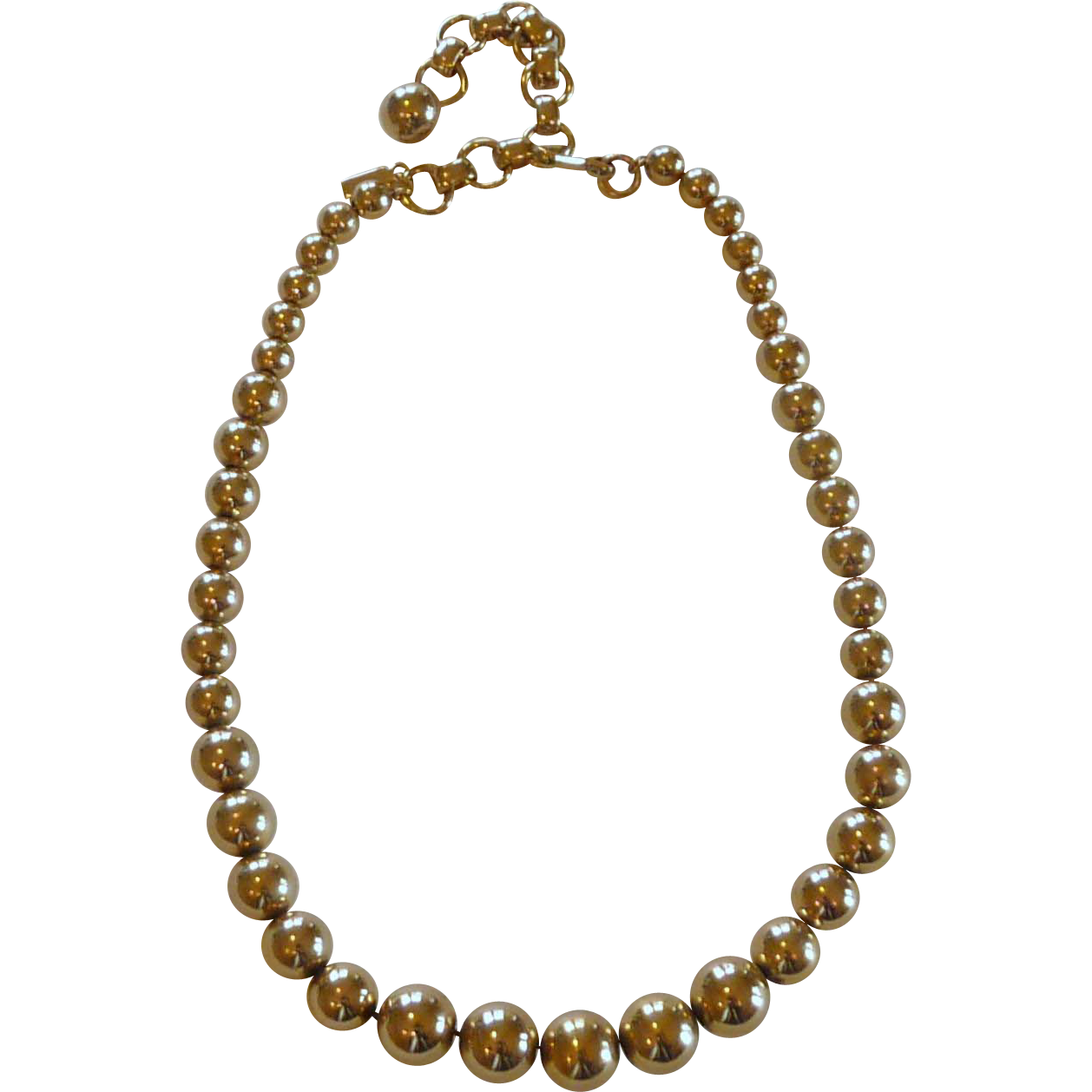 gold tone beaded monet necklace on gold tone chain from