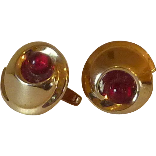 Foster Gold Tone with Red Faux Pearl Cuff Links Cufflinks