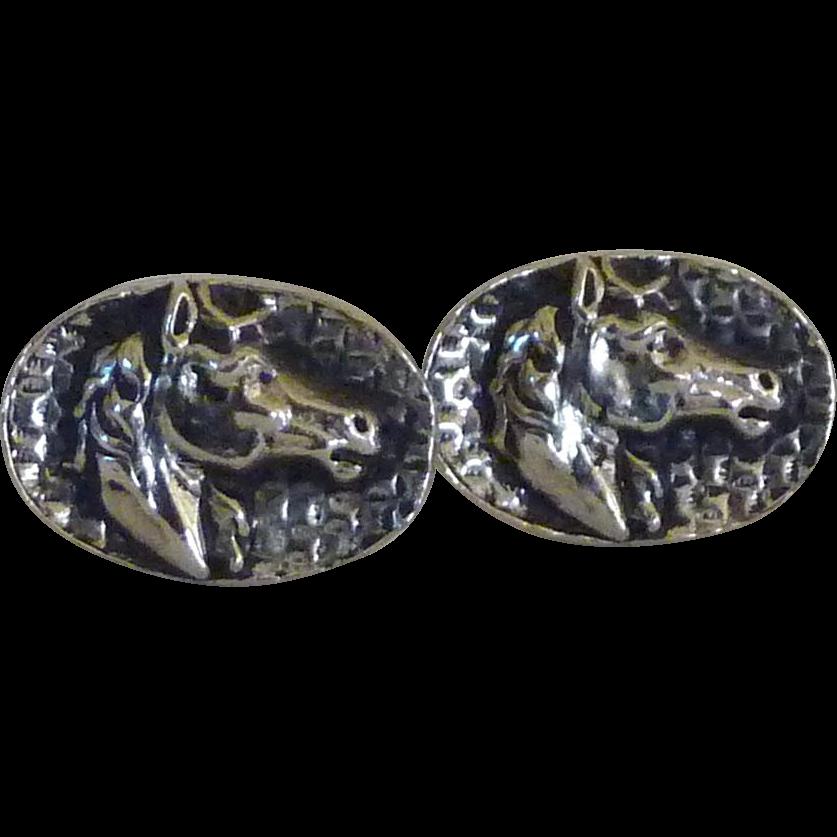 Silver Tone Oval Cufflink Horse Head Repousse Cuff Links