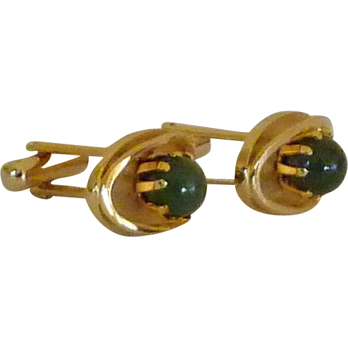 Classic Green Jade Gold Tone Cufflinks Cuff Links