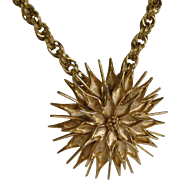 Monet Large Flower Pendant on Heavy Chain 1970