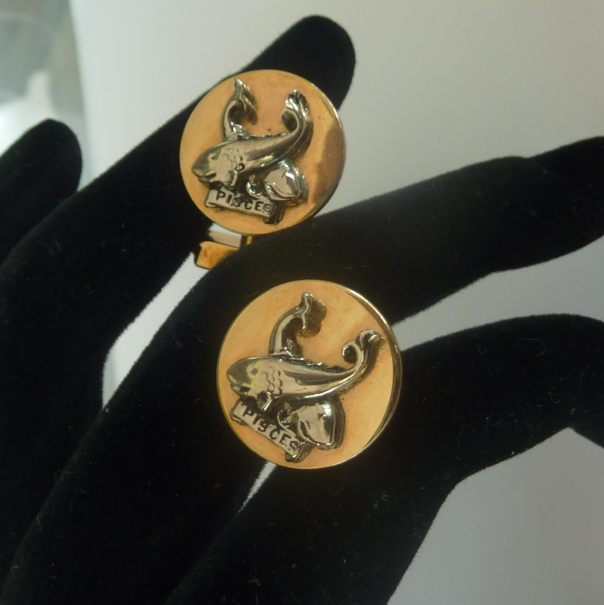 Astrological Pisces Sign 2 Fish Cufflinks Cuff Links
