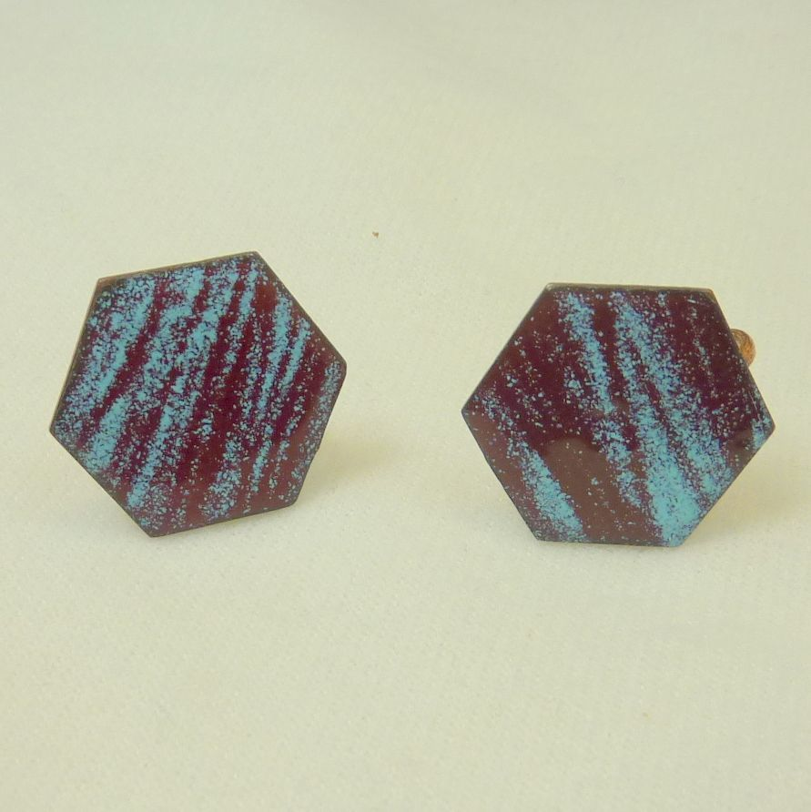 Blue and Maroon Enamel Screw Back Earrings Circa 1950's