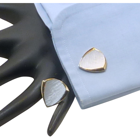 Gold Tone Triangle Shaped Grey Top Cufflinks Cuff Links