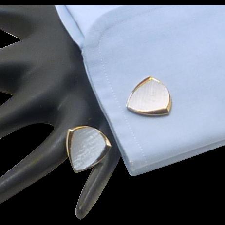 Gold Tone Triangle Shaped Grey Top Cufflinks Cuff Links