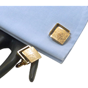 Krementz Brushed Gold Tone Square Cufflinks Cuff Links