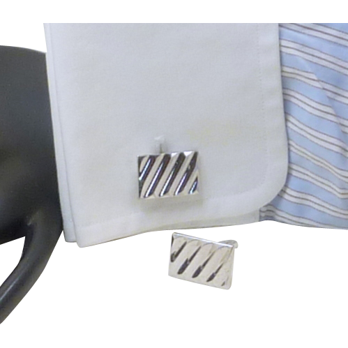Hickok Silver Toned Ridged Rectangular Cufflinks Cuff Links