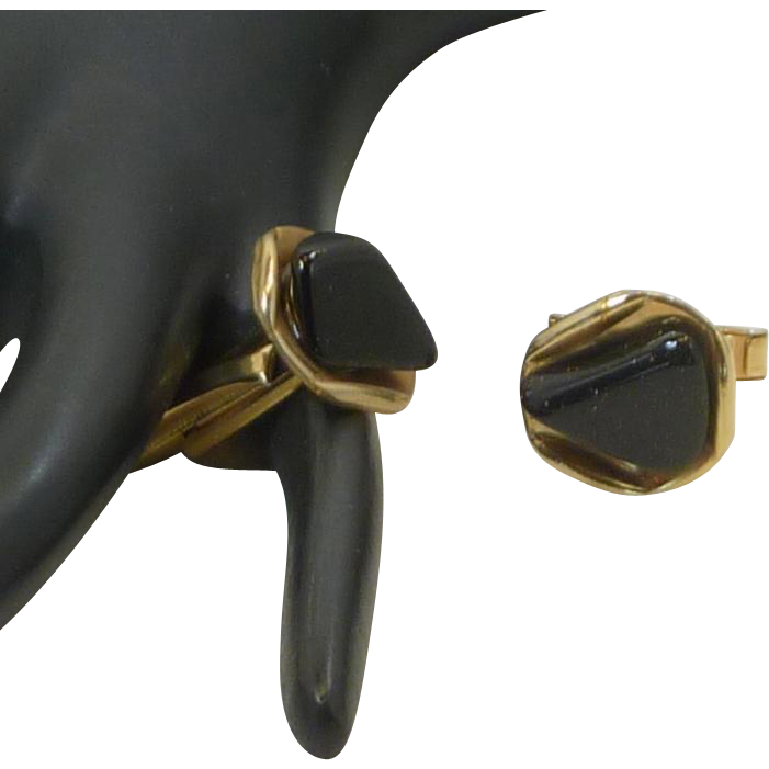 Black Stone on Gold Tone Triangle Shaped Cufflinks Cuff Links