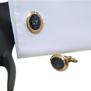 Black Oval Centurion Roman Warrior Cufflinks Cuff Links