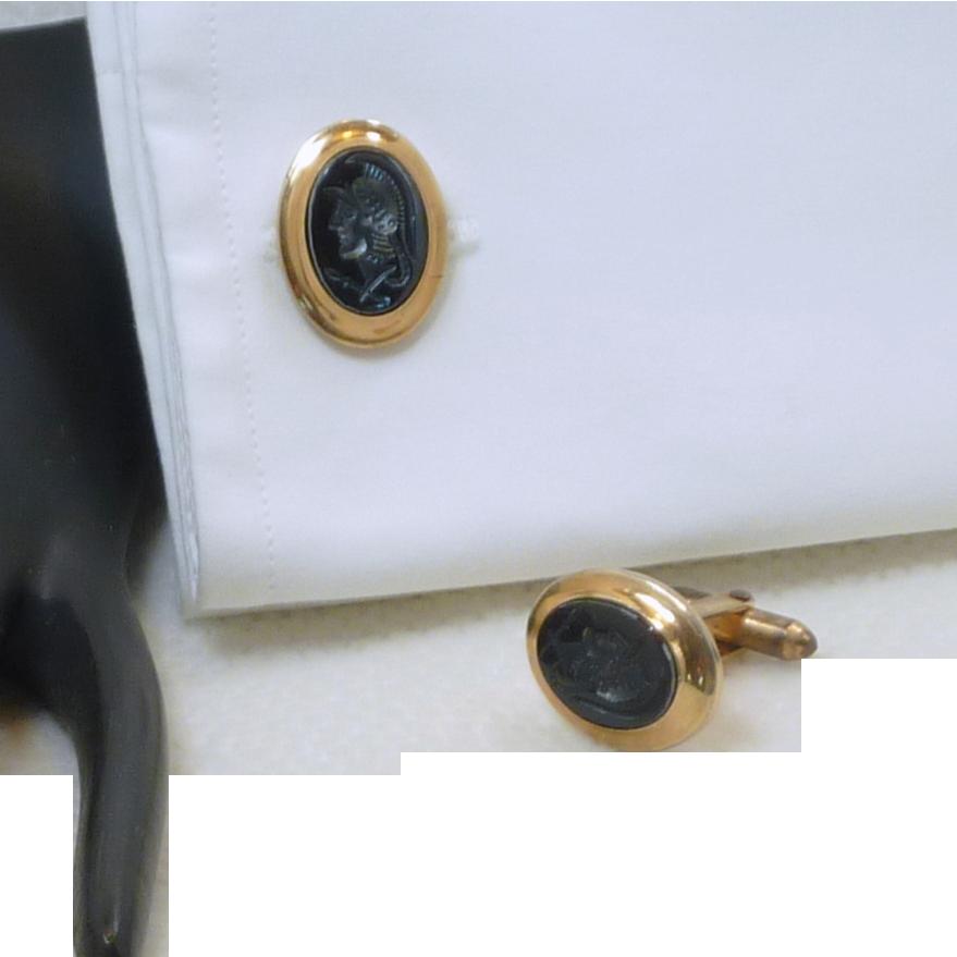 Black Oval Centurion Roman Warrior Cufflinks Cuff Links