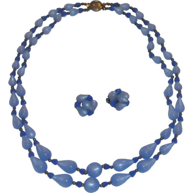 Blue Two Strand Necklace and Earrings 1950 -1960