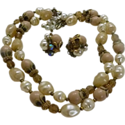 Deauville Two Strand Necklace and Earrings 1950 – 1960