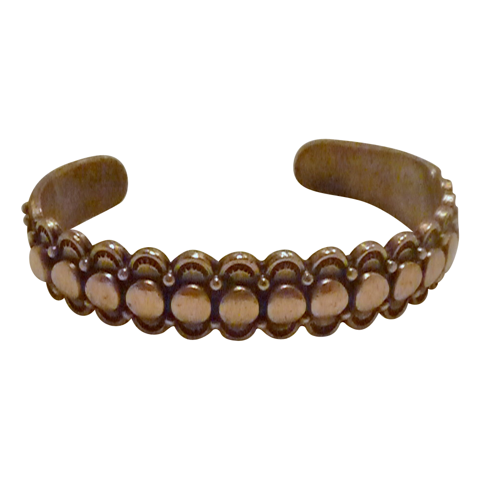 Mid Century Thin Solid Copper Cuff Bracelet