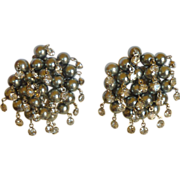 Grey Faux Pearl Cluster Clip On Earrings with Rhinestones