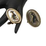 Gold Tone Oval Swank Dog Cufflinks Cuff Links