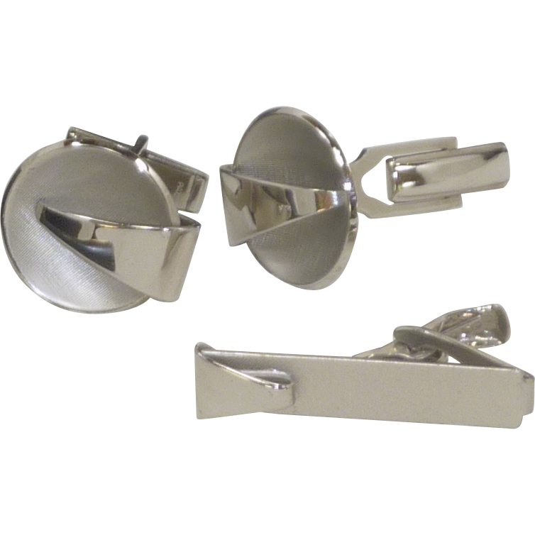 Mid Century Silver Tone Look Cufflinks Cuff Links / Tie Bar