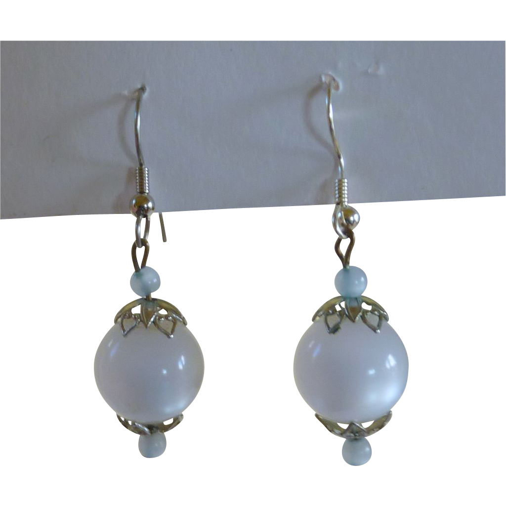 1960's Drop Blue White Silver Tone Pierced Earrings