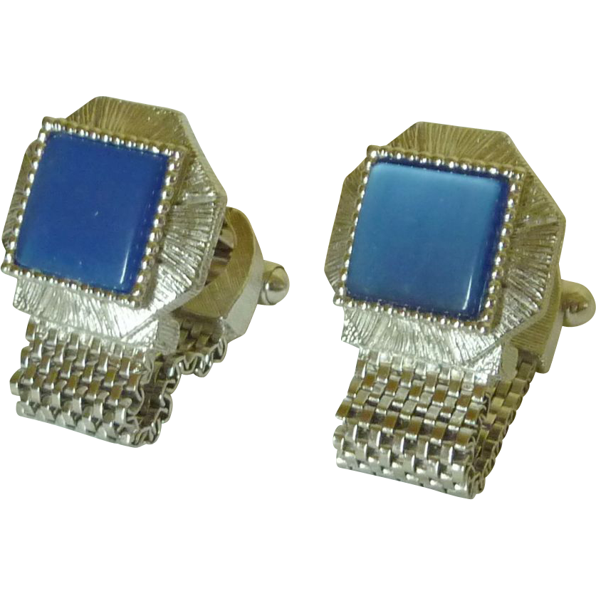 Moon Glow Blue Silver Tone Wrap Around Cuff Links Cuff Links