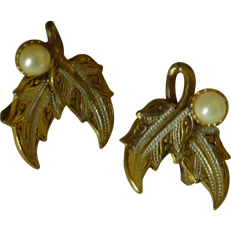 Damascene Faux Pearl Leaves Clip on Earrings