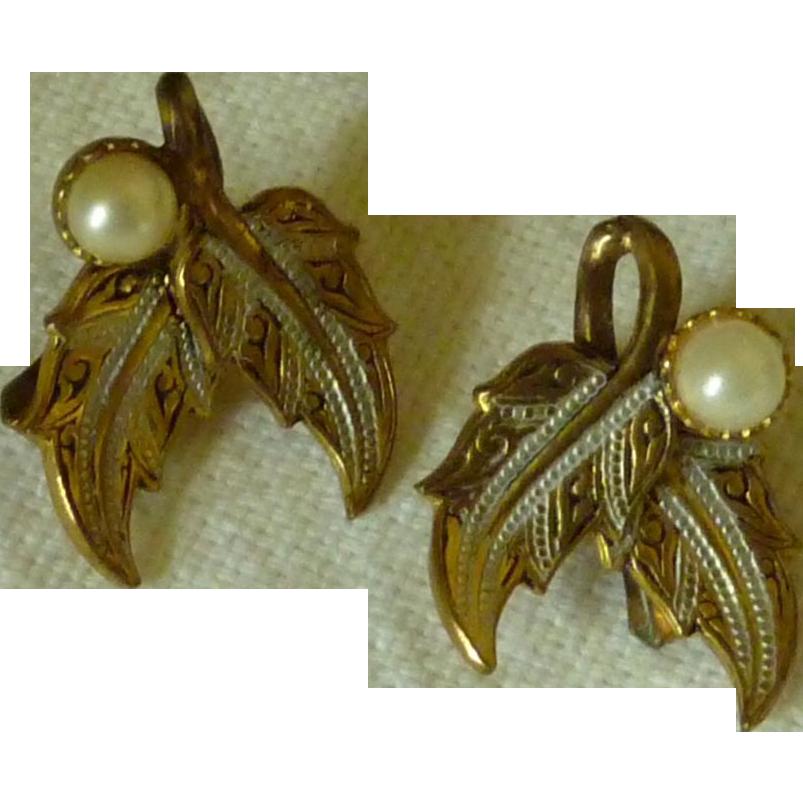 Damascene Faux Pearl Leaves Clip on Earrings