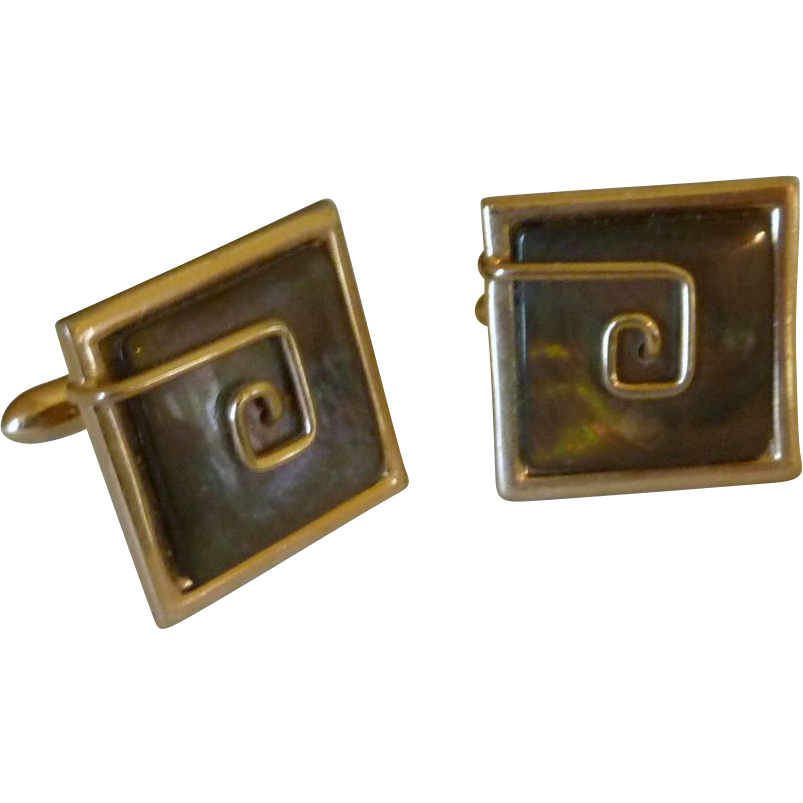 Square Black Mother of Pearl Gold Tone Setting Cufflinks Cuff Links