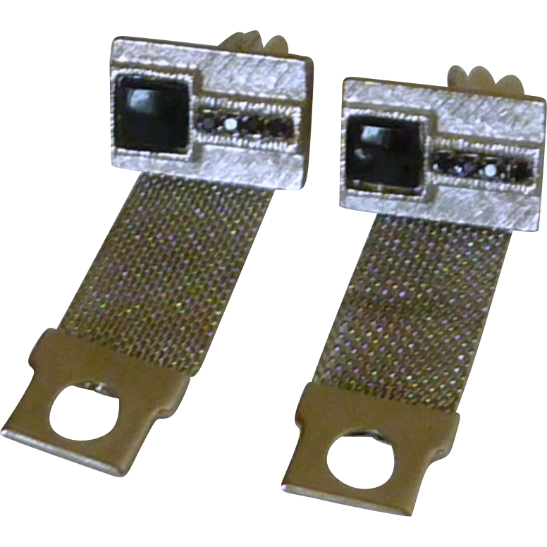 Black Glass Stone and Rhinestones Wrap Around Cuff Links Cufflinks