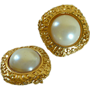 Faux Pearl Clip On Gold Tone Earrings