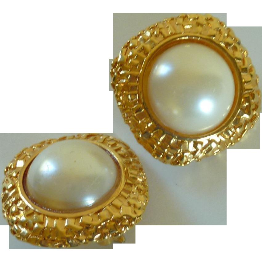 Faux Pearl Clip On Gold Tone Earrings