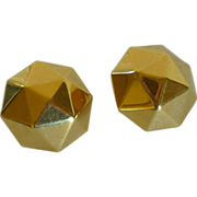 Monet Gold Tone Geometric Clip on Earrings