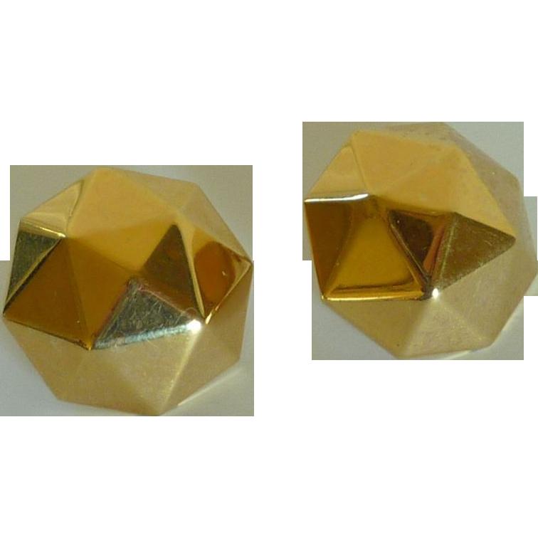 Monet Gold Tone Geometric Clip on Earrings